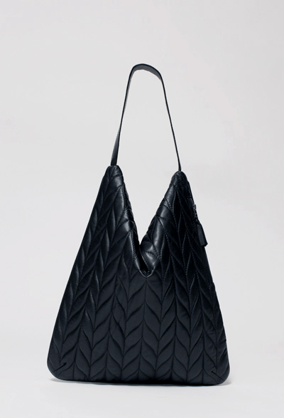 Black Quilted Divisa Tote by Jornsen – open
